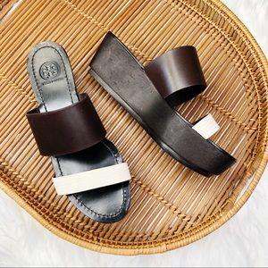 Tory Burch Wooden Platform Snakeskin Wedge Sandals